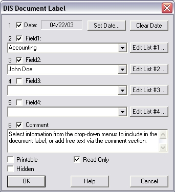 Document Imaging Software Label Screenshot
